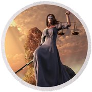 Blind Justice With Scales And Sword Round Beach Towel