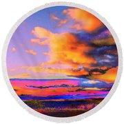 Blinn Hill View Round Beach Towel by Expressionistart studio Priscilla Batzell