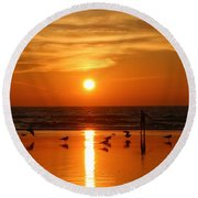 Bliss At Sunset   Round Beach Towel