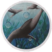 Round Beach Towel featuring the painting Bliss by Dianna Lewis