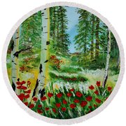 Round Beach Towel featuring the painting Bliss by Leslie Allen