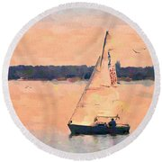 Round Beach Towel featuring the photograph Blissful by Betty LaRue