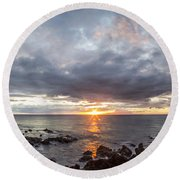 Blissful Shores Round Beach Towel by Brad Scott