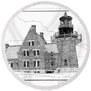 Round Beach Towel featuring the drawing Block Island Southeast Light by Ira Shander