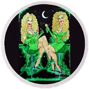 Blond Girls At Disco Round Beach Towel by Don Pedro De Gracia