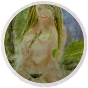 Blond On Deck Round Beach Towel by David Trotter