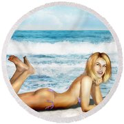 Blonde On Beach Round Beach Towel
