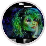Blondie - Debbie Harry Round Beach Towel by Absinthe Art By Michelle LeAnn Scott