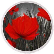 Blood-red Poppies - Red And Gray Art Round Beach Towel