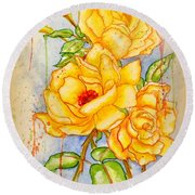 Round Beach Towel featuring the painting Blood Sweat And Tears Vignette by Darren Robinson