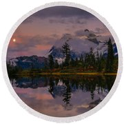 Bloodmoon Rise Over Picture Lake Round Beach Towel