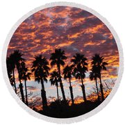 Bloody Sunset Over The Desert Round Beach Towel by Jay Milo