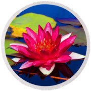 Blooming Lily Round Beach Towel