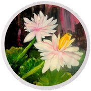Blooming At Night  Round Beach Towel