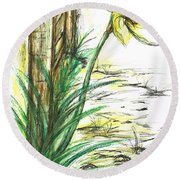 Blooming Daffodil Round Beach Towel by Teresa White