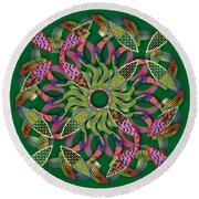 Blooming Mandala 3 Round Beach Towel