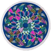 Blooming Mandala 6 Round Beach Towel