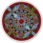 Blooming Mandala 2 Round Beach Towel