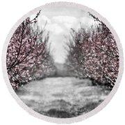 Blooming Peach Orchard Round Beach Towel by Elena Elisseeva
