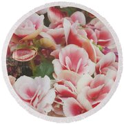Blooming Roses Round Beach Towel by Ivy Ho