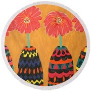 Blooms In Native Dress Round Beach Towel