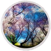 Blossom Cherry Trees Over Spring Sky Round Beach Towel by Lanjee Chee