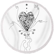 Blossoming Love Round Beach Towel