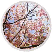 Blossoming Pink Round Beach Towel