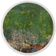 Blossoming Tree In The Garden Round Beach Towel
