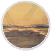 Blue Anchor Sunset Round Beach Towel by Martin Howard