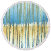 Blue And Gold Round Beach Towel