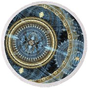 Blue And Gold Mechanical Abstract Round Beach Towel