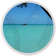 Blue And Green Round Beach Towel by Photographic Arts And Design Studio
