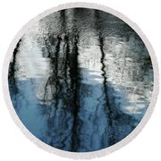 Blue And White Reflections Round Beach Towel