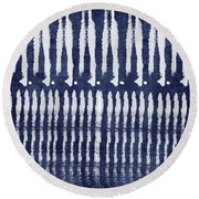 Blue And White Shibori Design Round Beach Towel by Linda Woods