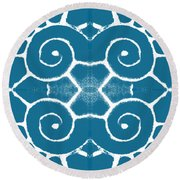Blue And White Wave Tile- Abstract Art Round Beach Towel