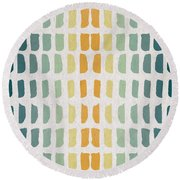 Blue And Yellow Pattern Round Beach Towel by Aged Pixel