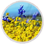 Blue And Yellow Wildflowers Round Beach Towel