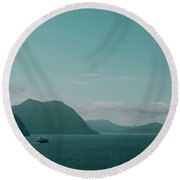 Blue As Fjord Round Beach Towel