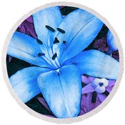 Round Beach Towel featuring the photograph Blue Asiatic Lily by Shawna Rowe