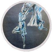Blue Ballerina Dance Art Round Beach Towel