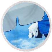 Blue Beach Umbrellas 2 Round Beach Towel