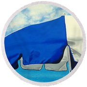 Blue Beach Umbrellas 1 Round Beach Towel