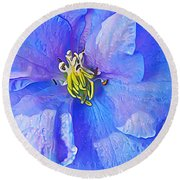 Blue Beauty Round Beach Towel by ABeautifulSky Photography