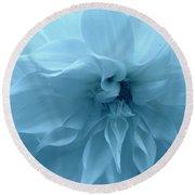 Blue Beauty - Dahlia Round Beach Towel by Dora Sofia Caputo Photographic Art and Design