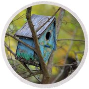 Round Beach Towel featuring the photograph Blue Birdhouse by Gordon Elwell