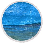 Blue Boat Abstract Round Beach Towel