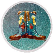 Blue Boots Round Beach Towel by Mayhem Mediums