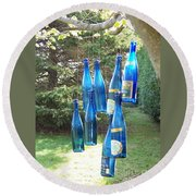 Blue Bottle Tree Round Beach Towel