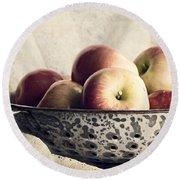 Blue Bowl Of Apples Round Beach Towel